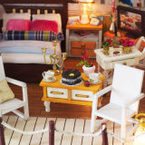 Nouvelle arrivée bois miniature DIY Maison de Poupée avec des meubles