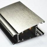 Profil en aluminium pour la porte de guichet avec le polonais argenté de balai