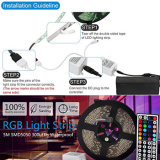 5050 Tira SMD LED RGB de 12V 60LED IP65 con 44 TIRA DE LEDS infrarrojos de la llave de control remoto y adaptador de alimentación CC12V