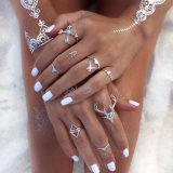 Plumas de la moda de los dedos de acero inoxidable Daimond Joyería Anillo de Boda