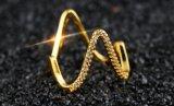 Amante de la V de color oro anillos de boda forma Micro Popular allanar ajuste zirconia cúbico Anillo de Joyería para Mujeres Bijoux