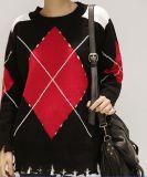 Señoras la moda la mezcla de colores Casual suéter tejido estampado de cuadros