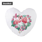Sublimación en forma de corazón blanco Sequin almohada cubierta con la impresión fotográfica personalizada (Champaña con blanco, 39*44cm) (BZLP3944HC-W)