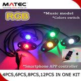 La lumière mobile 4PCS 6PCS 8PCS 12PCS de paquet de roche du contrôle DEL de RVB $$etAPP dans un nécessaire imperméabilisent IP67