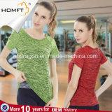 Magliette di tintura del manicotto di Short di ginnastica di sport di forma fisica delle donne delle calzamaglia di compressione di yoga dello spazio asciutto rapido dei vestiti