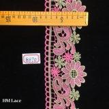stof van het Kant van 8cm de Roze Polyester Gebreide met Bloem voor het In orde maken van Toebehoren Hme870