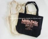 L'usine produit OEM de toile de coton noir d'impression personnalisée Liste de magasinage sac avec des goussets sur bas et les côtés