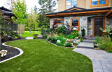 El paisajismo verde césped artificial para jardín
