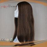 人間の毛髪の焦茶カラー絹の上のかつら(PPG-l-01813)