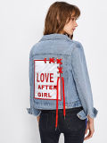 Новые модели с вышитым патч задней втулки Lace Up джинсовые куртки