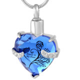 12 cores Coração em aço inoxidável de vidro cremação jóias de cinzas