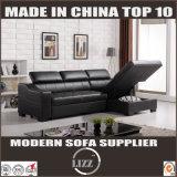 居間のための現代デザインのL形の革ソファーベッド