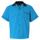 Nuevo diseño Collar Turn-Down Mens algodón de manga corta camisetas de Bowling