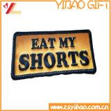 Kundenspezifisches gesponnenes Abzeichen-Großhandelseisen auf rückseitigem Stickerei-Abzeichen/Stickerei ändert Gewebe (YB-HD-75)