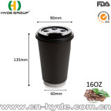 Grueso doble pared de la Copa de papel negro 16oz