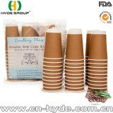 Taza de café caliente de la pared gruesa de Kraft con la cubierta para el mercado europeo