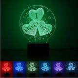 Valentine Presente romântico impressão 3D Luz noturna LED com alto-falante azul