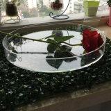 Plateau acrylique transparent élevé en gros de forme ronde pour la nourriture