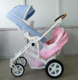 新しいデザインセリウムの証明書が付いている贅沢なフォールドの赤ん坊の双生児のベビーカー