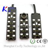 Дешевое -Кодирвоание 8ports для кабеля M12 отлитого в форму прекращением с распределительной коробкой номинальности IP67