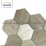 Mosaico di marmo grigio di Woodline di figura di pietra chiara smussata poco costosa di esagono