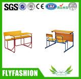 Étudiant en bois amovible double bureau avec chaise (SF-44D)