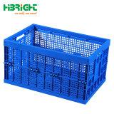 Transporte de produtos hortícolas Frutas empilhável de dobragem Tote Engradado de plástico de armazenamento de dados em movimento