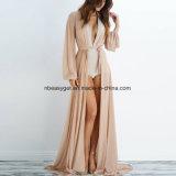Kleidet Hülsen-Kleid-langes Verpackungs-Kleid-beiläufiger gedruckter Maxi Blumenstrand der Frauen langes Esg10262