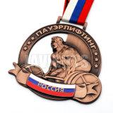 Medalha de cobre antiga feita sob encomenda do metal da cavidade da lembrança 3D com fitas
