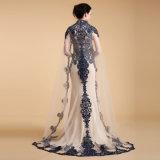 Vestido de noite bordado Sleeveless elegante da sereia da parte superior e da borda do laço com o xaile longo do laço