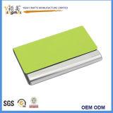 Promoción de la venta caliente Cuero Metal porta tarjeta Tarjeta de presentación de los casos