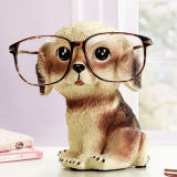 Decoração do banco e do Eyeglass de moeda da escultura do cão de Polyresin