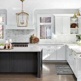 De hoge Glanzende Witte Keukenkast van de Kleur (door-18-L28)