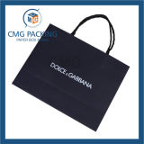 Papier d'emballage noir et blanc Paper Bag pour Fashion Clothing avec Twist Handle (CMG-MAY-050)