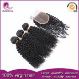 """Gruppi ricci crespi indiani dei capelli dei capelli umani del Virgin 18 """" 20 """" con la chiusura del merletto"""