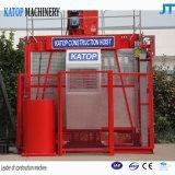 El elevador al por mayor de la construcción con las jaulas dobles
