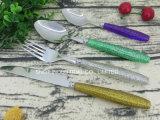 Schitter het Plastic Tafelgereedschap van de Lepel van de Vork van het Mes van het Handvat