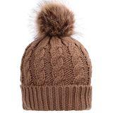 Knit main Hat Beanie avec fourrure POM POM