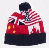 赤い編まれたアクリルの冬の帽子の帽子