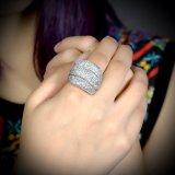 백금 도금 모조 다이아몬드 수정같은 결혼식 형식 여자 반지