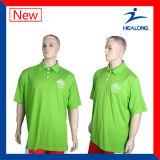 Healongの高品質の服装純粋なカラーポロシャツギヤ