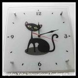 Relógio de vidro decorativo e temperado com padrão de gato
