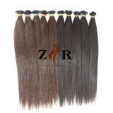Natural de cor castanha cutícula desenhada Ponta plana para cabelo Chinês Extensão de cabelo
