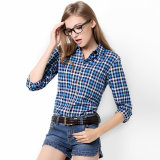 Повелительница Вскользь Рубашка верхних частей рубашек хлопка женщин втулки рубашки шотландки кофточек женщин длинняя