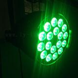 Het binnen LEIDENE van het PARI van de Disco van DJ van het Stadium 18X18W RGB IP65 Licht van Rgbwauv