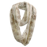 Écharpe Chiffon de ressort d'infini de polyester estampée par Rose de mode de filles (YKY1109)