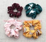 Custom печать атласный шелк хлопок месте дизайн Scrunchies волос (DH-LH6195)