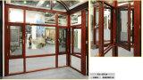 Ultima finestra di alluminio di legno della stoffa per tendine di rivestimento di grano con le reti di zanzara