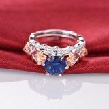 꽃 디자인 파란 다이아몬드 반지는 -34를 놓았다