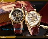 Relógio gama alta dos homens automáticos consideráveis com a cinta de couro genuína Fs600